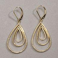 14k Yellow Gold Cascading Teardrop Earrings