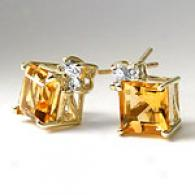 14k Yellow Gold Citrine & Diamond Earrings