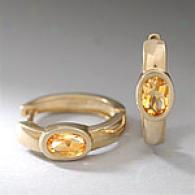 14k Yellow Gold Citrine Huggie Eardings