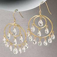 14k Yellow Gold Cubic Zirconia Chandelier Earrings