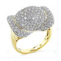 14k Yellow Gold Domed 1.00 Cttw. Pave Diamond Ring