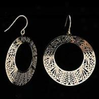 14k Yellow Gold Filigree Circle Dangle Earrings