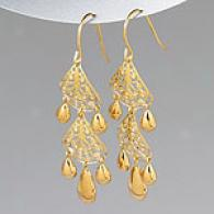 14k Yellow Gold Filigree Chandelier Eardings