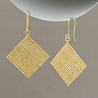 14k Yellow Gold Flexible Mesh Bead Dangle Earrings