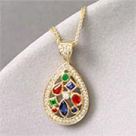 14k Yellow Gold Mulfi-gemstone & Diamond Pendant