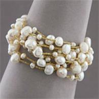 14k Yellow Gold Nine Row Pearl Bracelet