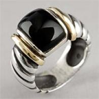 14k Yellow Gold & Oxidized Sterling Onyx Ring