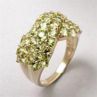 14k Yellow Gold Peridot Criss Transverse Ring
