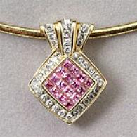 14k Yellow Gold Pink Sapphire & Diamond Pendant