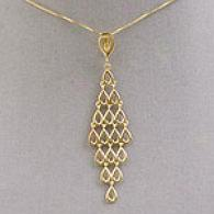 14k Yellow Gold Polished Tiered Drop Necklace