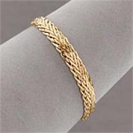 14k Yellow Gold Reversible Bold Weave Bracelet