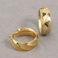 14k Yellow Gold Sculpted Hoop Earrings
