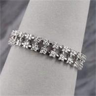 14kt Wg 8.00cttw Diamond Two Row Cluster Bracelet