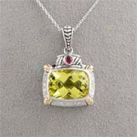 14ky & Silver 10.20 Cttw. Lemon & Garnet Pendant