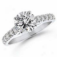 1.50 Cttw. Diamond Engagement Ring, 14k White Gold
