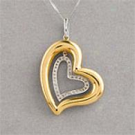 18k & 0.18 Cttw. Diamond Heart Necklace