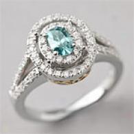 18k 0.97 Cttw. Blue & White Diamond Ring