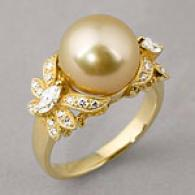 18k 10-11mm Golden South Sea Pearl & Diamond Ring