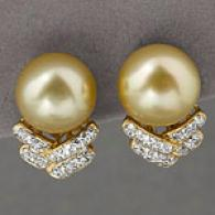 18k 10-11mm South Sea Pearl & Diamond Earrings