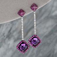 18k 10.53 Cttw. Amethyst & Pink Blue Earrings