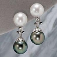 18k 11-12mm South Ocean Pearl & Diamond Earrings