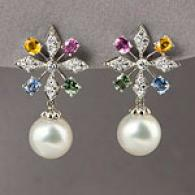 18k 11mm-12mm Pearl, Diamond & Sapphire Earrings