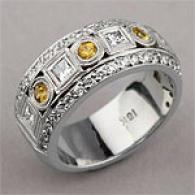 18k 1.20 Cttw. Yellow Sapphire & Diamond Cord Ring