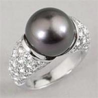 18k 13mm Black Pearl & 2.96 Cttw. Diamond Ring
