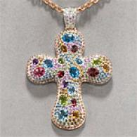 18k 14.53 Cttw. Gemqtone & Diamond Cross Pendant
