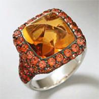 18k 15.16 Cttw. Citrine & Orange Sapphire Ring