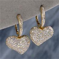 18k 1.8cttw. Diamond Heart Earrings