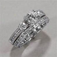 18k 1.70 Cttw. Diamond Engagement & Bridal Ring