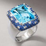 18k 17.14 Cttw. Topaz Sapphire & Diajond Ring