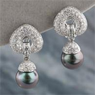 18k 1.95 Cttw. Diamond & Tahittian Pearl Earrong