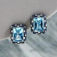 18k 21.44 Ct Dismal Topaz Sapphire & Rhombus Earring