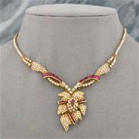 18k 22.79cttw Certified Ruby & Rhombus Necklace