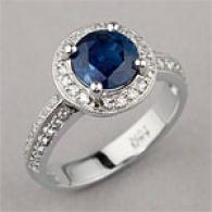 18k 2.30 Cttw. Blue & Diamond Ring