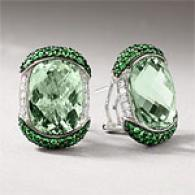 18k 24.12 Cttw. Green Gemstnoe & Diamond Earrings