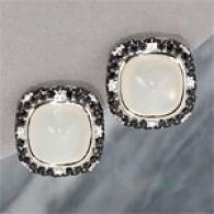18k 24.87 Cttw. Moonstone & Diamond Earrings