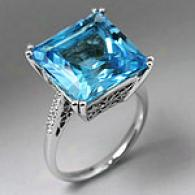 18k 2.60 Cttw. Blue Topaz & Diamond Ring