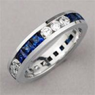 18k 2.80 Cttw. Diamond & Sapphire Wedding Ring