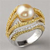 18k 3.12 Cttw. Gold Pearl, Diamond & Sapphire Ring
