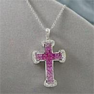 18k 3.45 Ctyw. Sapphire & Diamond Cross Pendant