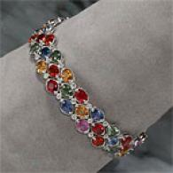 18k 52.38 Cttw. Multi Gemstone & Diamond Bracelet