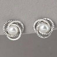 18k 6mm-6.5mm Akoya Pearl & Diamond Knot Earrings