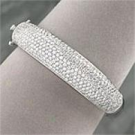 18k 7.10 Cttw. Diamond Pave Bangle Bracelet