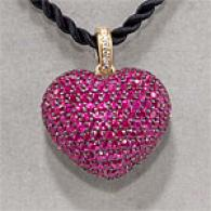 18k 7.45 Cttw. Pave Ruby & Diamond Heart Pendant