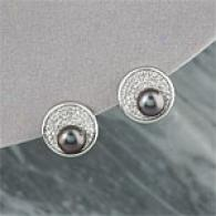 18k 8mm-9mm Tahitian Pearl & Diamond Earrings