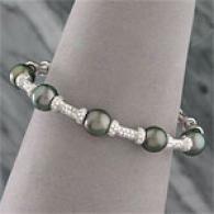 18k 9-10mm Tahitian Pearl & Diamond Cuff Bracelet