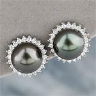 18k Diamond & 11-12mm Tahitian Pearl Earrinf